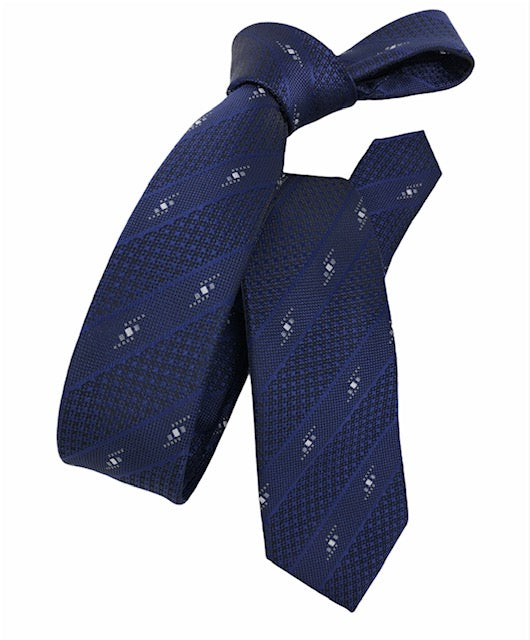 DMITRY Blue Patterned Italian Silk Skinny Tie