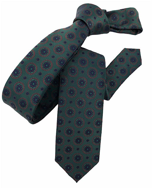 DMITRY Green Patterned Italian Silk Skinny Tie