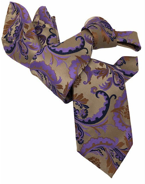 DMITRY 7-Fold Men's Light Brown Patterned Italian Silk Tie & Pocket Square Set