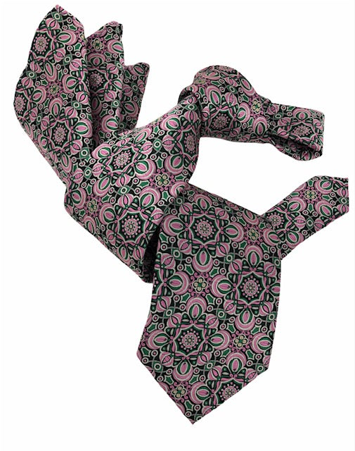DMITRY 7-Fold Men's Pink Patterned Italian Silk Tie & Pocket Square Set