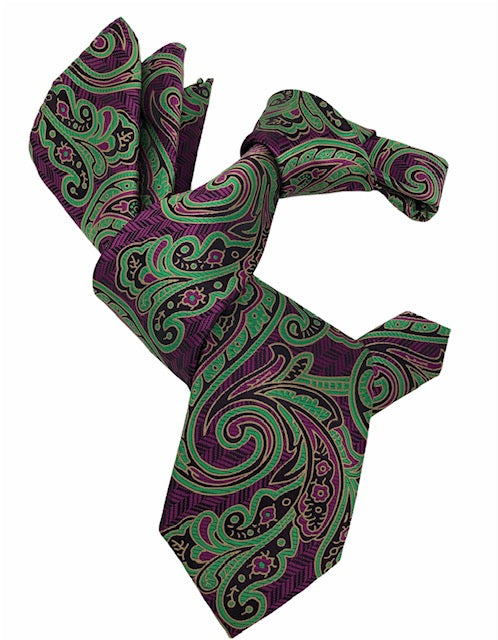 DMITRY 7-Fold Men's Magenta/Green Patterned Italian Silk Tie & Pocket Square Set