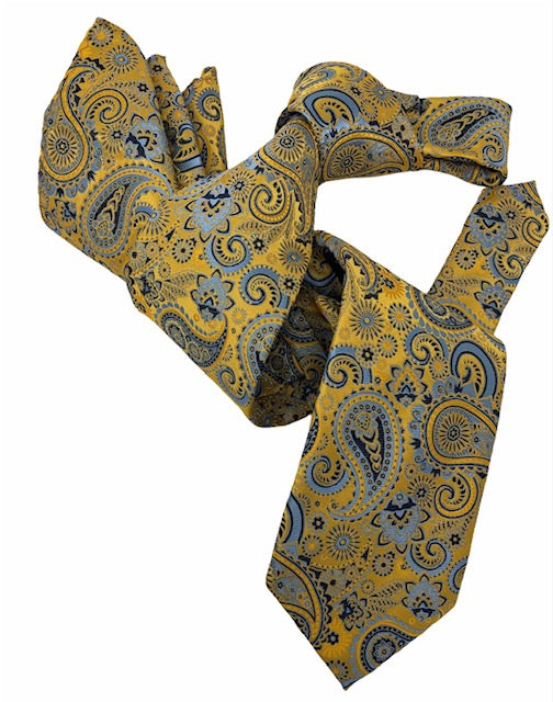 DMITRY 7-Fold Men's Yellow Patterned Italian Silk Tie & Pocket Square Set