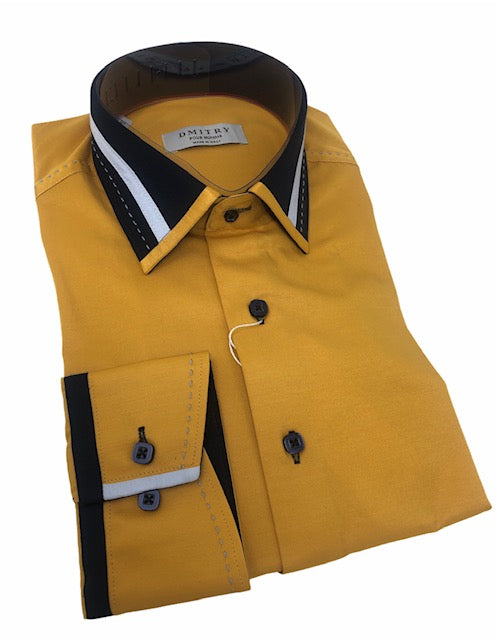 DMITRY Italian Cotton Mustard Yellow Men's Long Sleeve Shirt