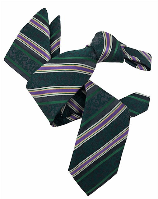 DMITRY Men's Green Striped Italian Silk Tie & Pocket Square Set