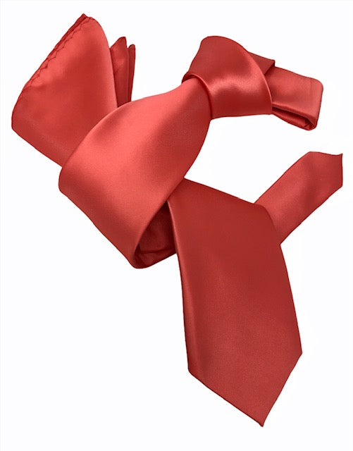 DMITRY Men's Solid Coral Italian Silk Tie & Pocket Square Set