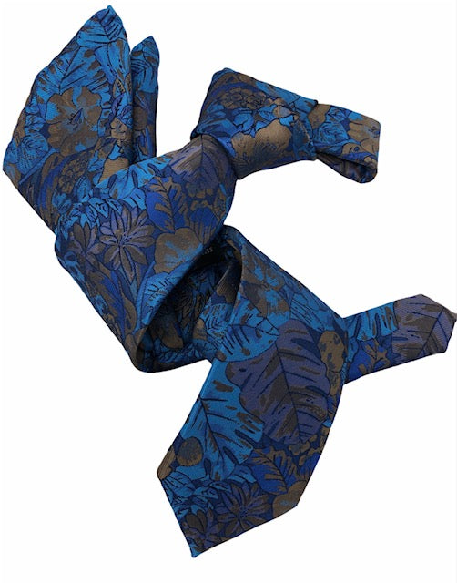 DMITRY Men's Blue/Brown Floral Italian Silk Tie & Pocket Square Set