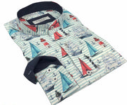 "DMITRY Men's ""Sailboats"" Mandarin Collar Cotton Long Sleeve Shirt (Online Exclusive)"
