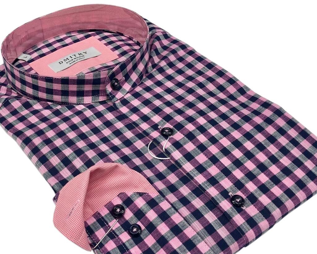 DMITRY Mandarin Collar Pink/Navy Check Cotton Long Sleeve Shirt