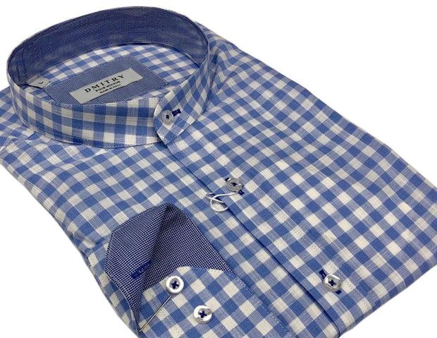 DMITRY Mandarin Collar Light Blue Check Cotton Long Sleeve Shirt