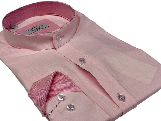 DMITRY Mandarin Collar Pink Cotton Long Sleeve Shirt