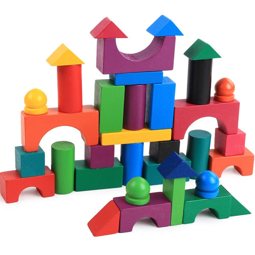 Colourful Wooden Building Blocks | Wooden | THE ESSENTIAL |
