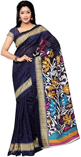 Indian Women's Fashion Printed Bhagalpuri Cotton Blend Saree with Blouse Piece Attached (Blue, Grey, Free Size)