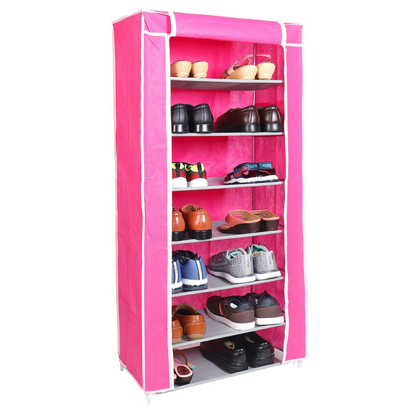 7 Layers Portable Multi-Utility DIY Foldable Storage Shoes Rack for Home (Pink)
