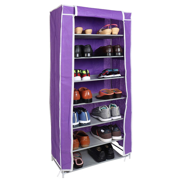 7 Layers Portable Multi-Utility DIY Foldable Storage Shoes Rack for Home (Purple)