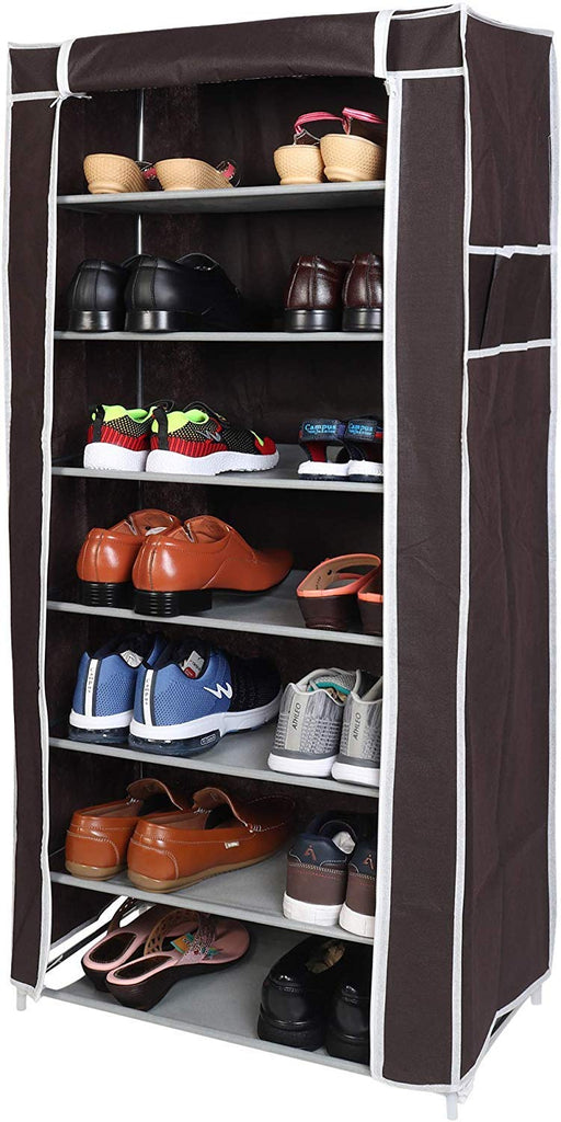 7 Layers Portable Multi-Utility DIY Foldable Storage Shoe Rack For Home(Brown)