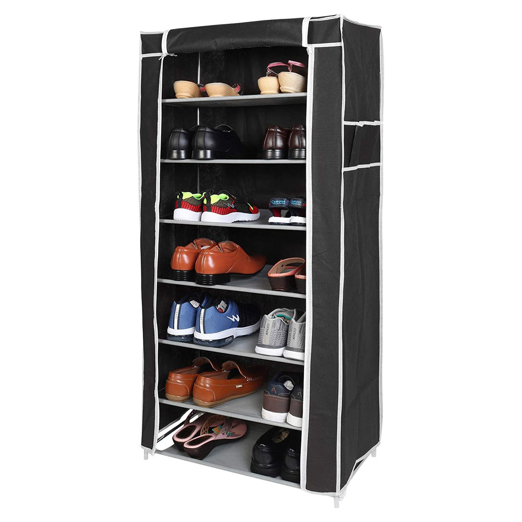 7 Layers Portable Multi-Utility DIY Foldable Storage Shoes Rack for Home (Black)
