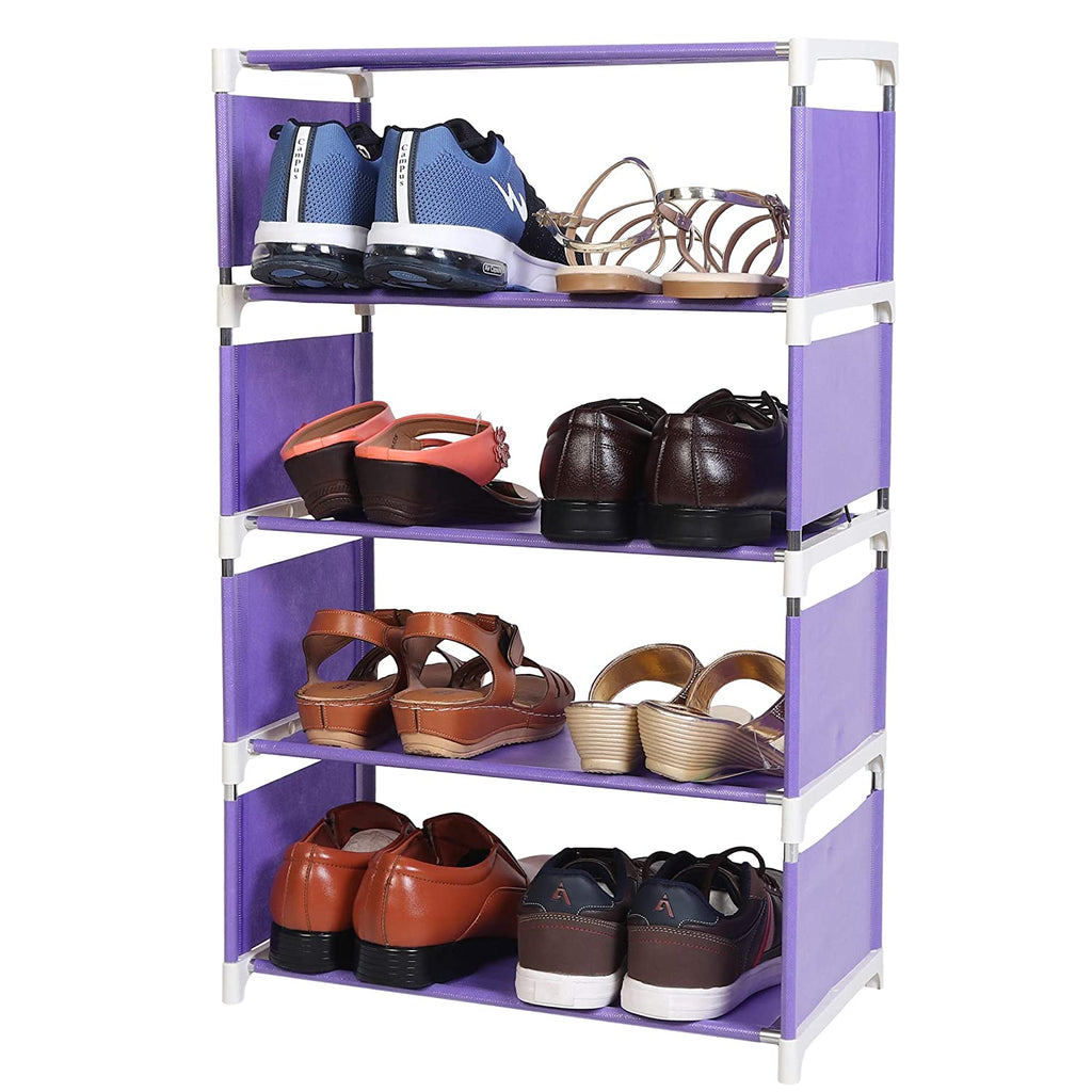 4 Layers Portable Multi-Purpose Foldable Storage Shoe Rack for Home (Purple)