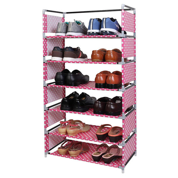 6 Layers Steel and Fabric Multi-Purpose Shoe Rack for Home (Pink)