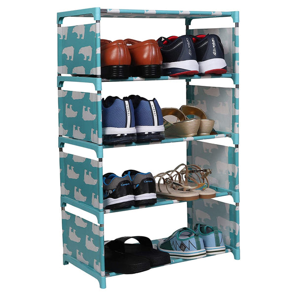 4 Layers Portable Multi-Purpose Foldable Storage Shoe Rack for Home (Tusquoise)