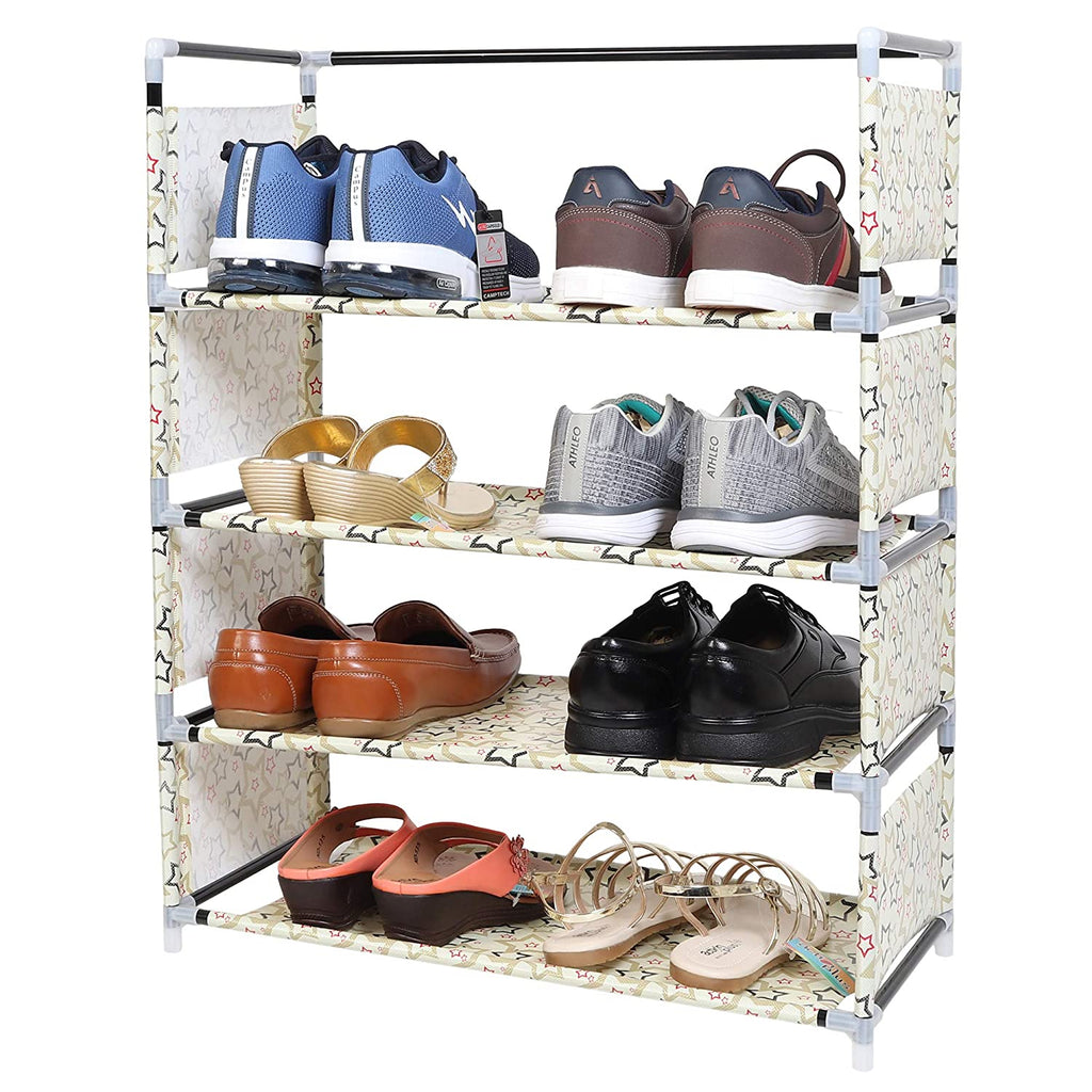 4 Layers Portable Multi-Purpose Foldable Storage Shoe Rack for Home (Beige)