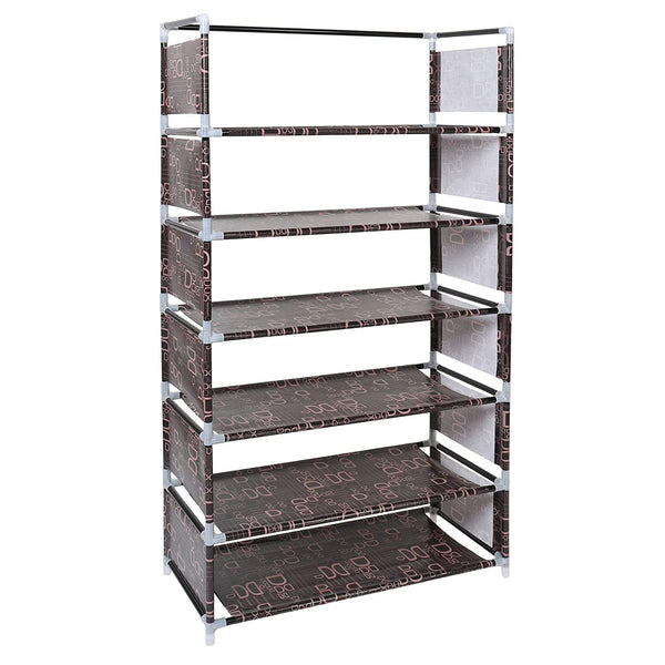 6 Layers Steel and Fabric Multi-Purpose Shoe Rack for Home (Brown)