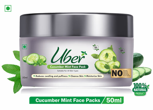 Uber Cucumber & Mint Face Pack with Mint Oil + Cucumber Plant Extracts + Green Tea For Prevents Blackheads and Removes Tan & Dead Skin