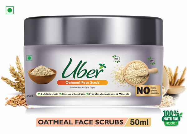 Uber Oatmeal Face Scrub with Natural Honey + Dried Crushed Oats + Organic Sugar For Youthful Skin and Cleanses Dead Skin (50ml)