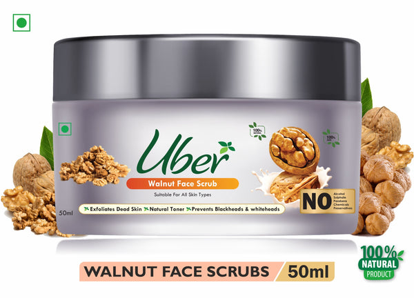 Uber Walnut Face Scrub with Natural Walnut Kernels + Organic Sugar + Beeswax For Clean Blackheads & whiteheads (50ml)
