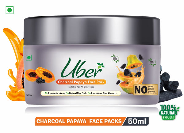 Uber Charcoal Papaya Face Pack with Papaya Extract + Activated Charcoal + Sandalwood Powder For Gently Removes Oil and Dirt & Toxins