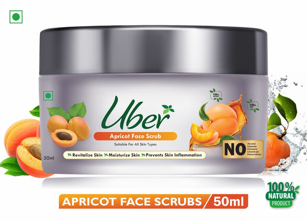 Uber Apricot Face Scrub with Natural Apricot Particles + Lemon Juice + Coconut Oil For Revitalizing and Hydrating The Skin (50ml)