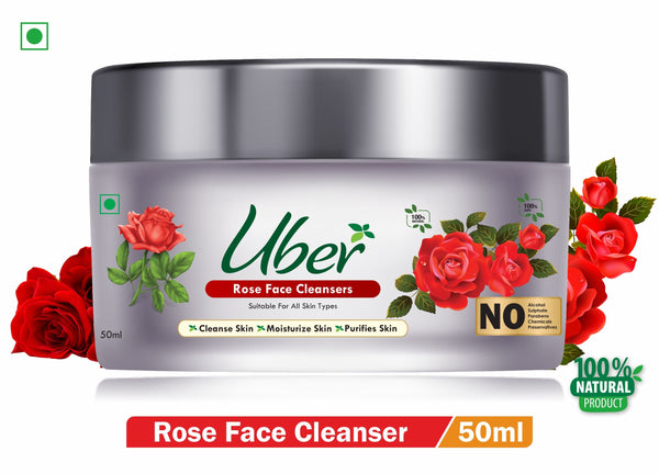 Uber Rose Face Cleanser with Natural Rose Extract + Essential Oil For Moisturizes Your Skin (50ml)