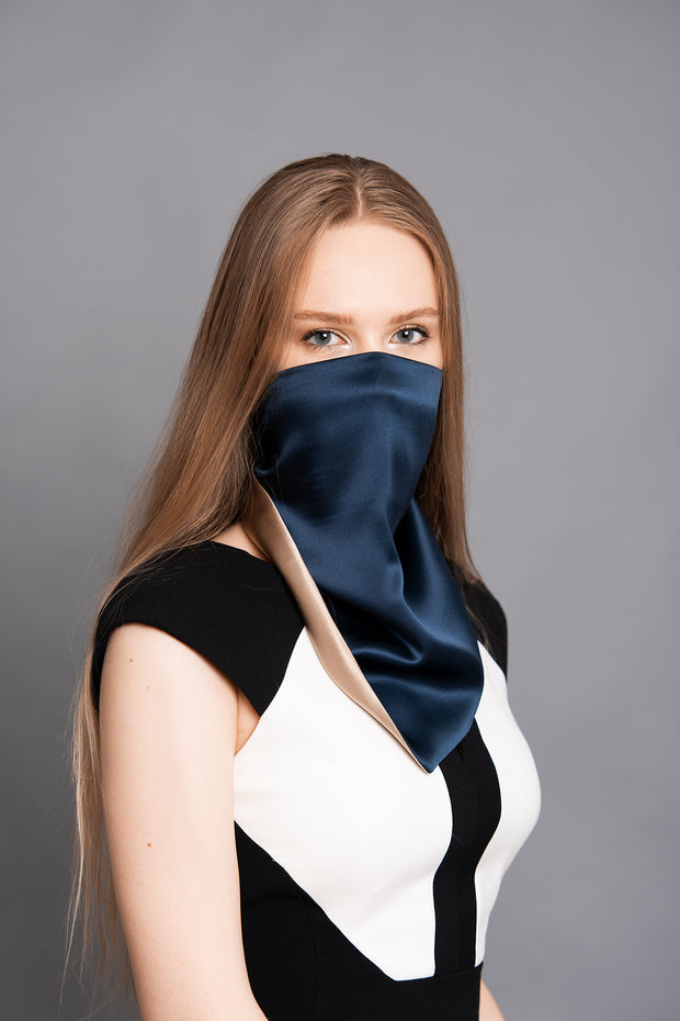Silk Scarf, Solid midnight blue / taupe