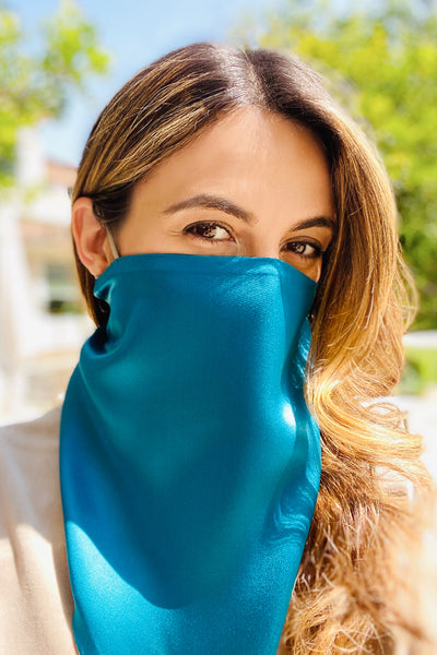 Silk Triangle Scarf, Teal / taupe