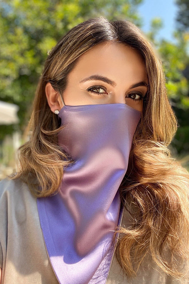 Silk Triangle Scarf, Lavender / taupe