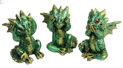 mythical green dragons hear, speak see no evil
