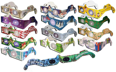 3D Christmas Glasses Holiday Eyes® - 13 Pairs 3D Christmas and New Years Glasses - 13 Different Exclusive Styles - FLAT