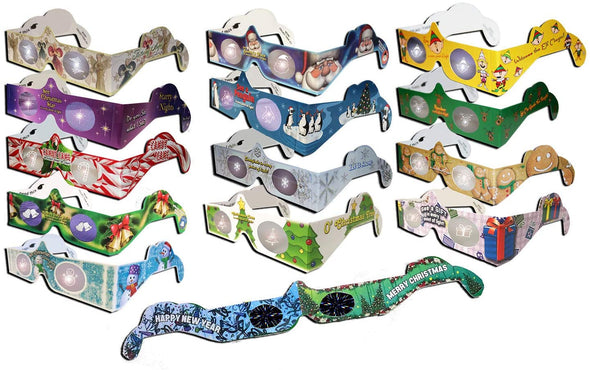 3D Christmas Glasses Holiday Eyes® - 25 Pairs 3D Christmas and New Years Glasses - 15 Different Exclusive Styles - FLAT