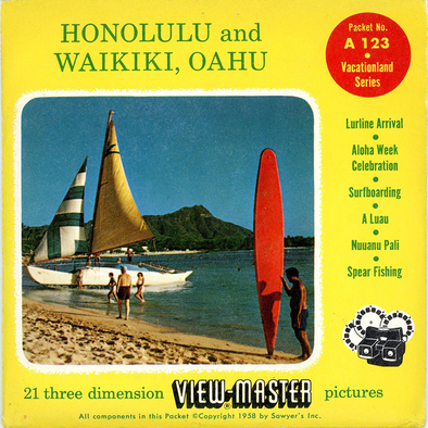 ViewMaster - Honolulu and Waikiki, Oahu - Vintage Classic - 3 Reel Packet - 1950s Views - A123