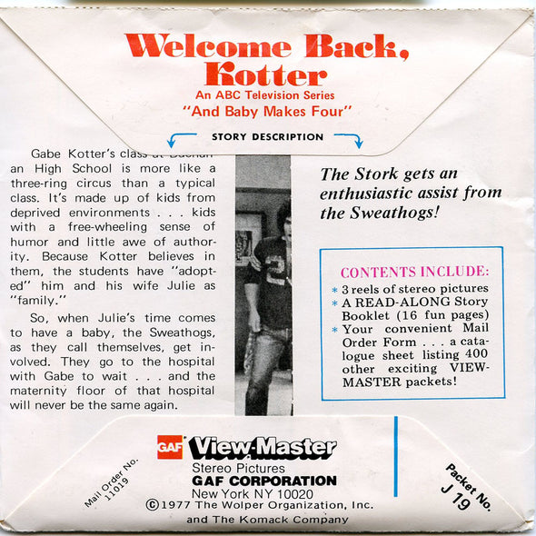 Welcome Back Kotter - J19 - Vintage Classic View-Master - 3 Reel Packet - 1970s views