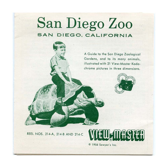San Diego Zoo - Vacationland Series - Vintage Classic View-Master 3 Reel Packet - 1950s views