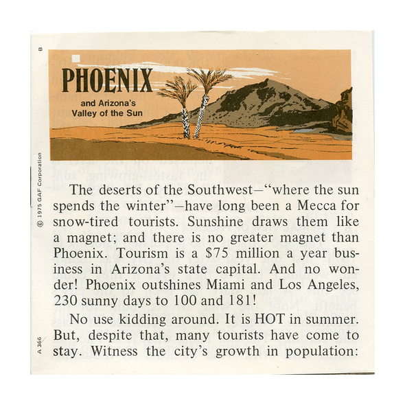 ViewMaster - Phoenix and Valley of the Sun Arizona - A366 -  Vintage - 3 Reel Packet - 1970s views