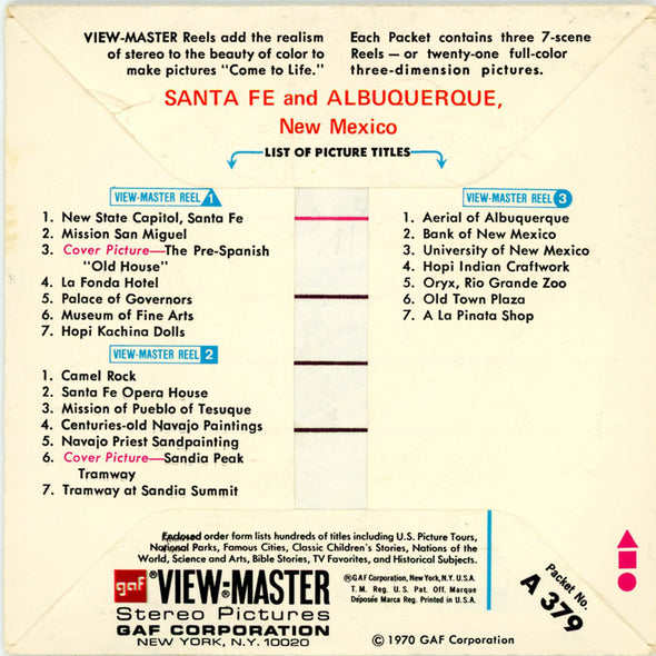 ViewMaster - Santa Fe and Albuquerque - A379 - Vintage - 3 Reel Packet - 1970s views
