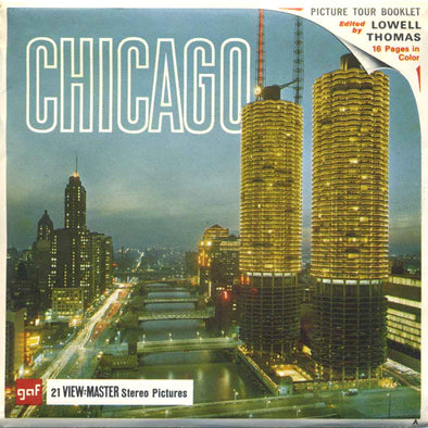 Chicago, Illinois - A551 - Vintage Classic View-Master 3 Reel Packet - 1960s views