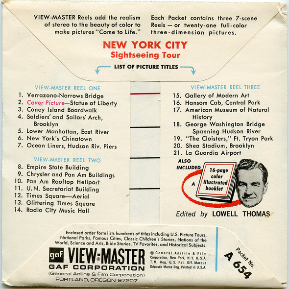 ViewMaster - New York City - Sight-Seeing Tour - A654 - Vintage - 3 Reel Packet - 1960s Views