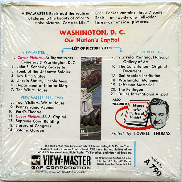 Washington, D.C - A790 - Vintage Classic View-Master - 3 Reel Packet - 1960s Views