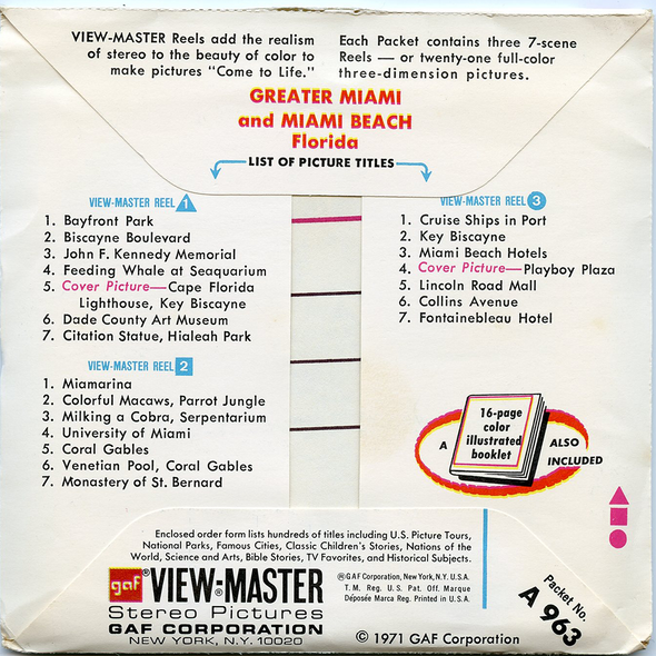 ViewMaster - Greater Miami & Miami Beach Florida - A963 Vintage -  3 Reel Packet - 1970s views