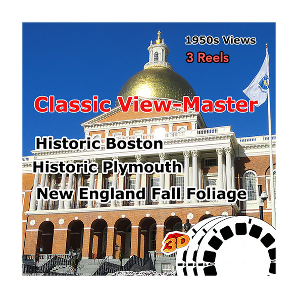 Historic Boston, Historic Plymouth, New England Fall Foliage - Vintage Classic View-Master - 1950s views