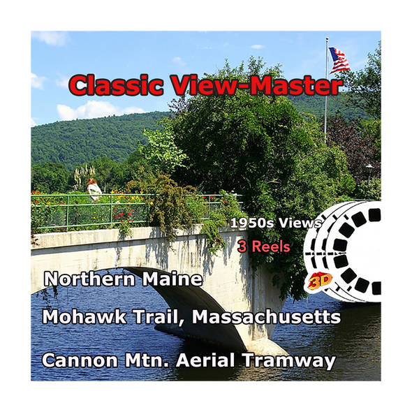 Massachusetts - Maine, Aerial Tramway, Mohawk Trail - Vintage Classic View-Master - 1950s views