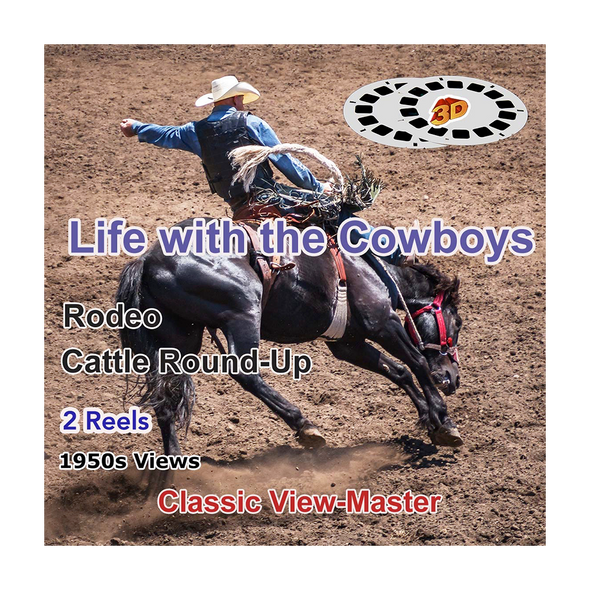 Life with Cowboys - The Rodeo, Cattle Round-Up - 2 Vintage View-Master - 1950s