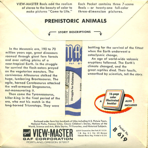 Prehistoric Animals - B619 -Vintage Classic View-Master - 3 Reel Packet - 1960's Views